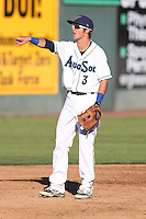 Jordan Cowan #3 of the Everett AquaSox during a game against the Boise Hawks at Everett Memorial Stadium on July 25, 2014 in Everett, Washington. Everett defeated Boise, 3-1. (Larry Goren/Four Seam Images)
