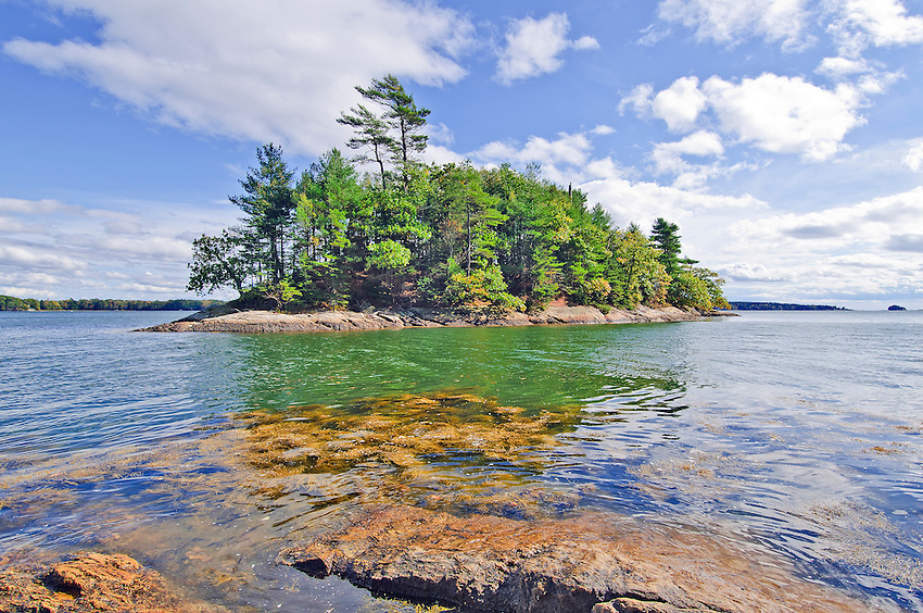 View of a small island just off the coast of Maine near Portland