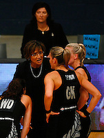 17.1.2014 New Zealand coach Waimarama Taumaunu talks to her players during a break in play during their netball test match against Jamaica in London, England. Mandatory Photo Credit (Pic: Tim Hales). ©Michael Bradley Photography.