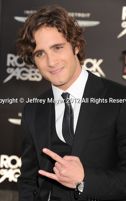 HOLLYWOOD, CA - JUNE 08: Diego Boneta arrives at the 'Rock Of Ages' - Los Angeles Premiere at Grauman's Chinese Theatre on June 8, 2012 in Hollywood, California.