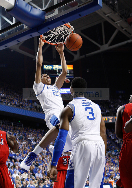 Freshman forward Anthony Davis dunks the ball during the first half of the game against the University of Mississippi in Lexington, Ky., on Saturday, Feb. 18, 2012. Photo by Tessa Lighty   Staff