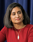 Seema Verma, Administrator of the Centers for Medicare and Medicaid Services, listens as United States President Donald J. Trump makes remarks at a set of panel discussions titled &quot;Conversations with the Women of America&quot; at the White House in Washington, DC on Tuesday, January 16, 2018.  The President's remarks touched on the economy, healthcare, combatting the opioid crisis and national security.<br /> Credit: Ron Sachs / CNP