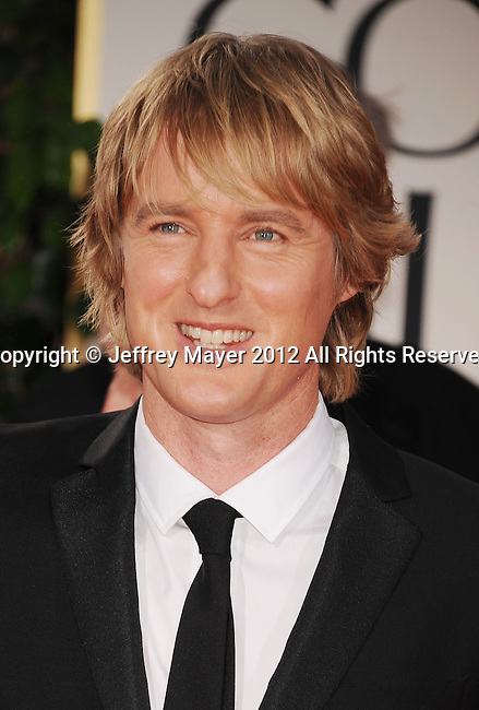 BEVERLY HILLS, CA - JANUARY 15: Owen Wilson arrives at the 69th Annual Golden Globe Awards at The Beverly Hilton hotel on January 15, 2012 in Beverly Hills, California.