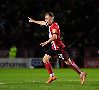 Lincoln City's Joe Morrell celebrates scoring his side's third goal<br /> <br /> Photographer Chris Vaughan/CameraSport<br /> <br /> The EFL Sky Bet League One - Lincoln City v Bolton Wanderers - Tuesday 14th January 2020  - LNER Stadium - Lincoln<br /> <br /> World Copyright © 2020 CameraSport. All rights reserved. 43 Linden Ave. Countesthorpe. Leicester. England. LE8 5PG - Tel: +44 (0) 116 277 4147 - admin@camerasport.com - www.camerasport.com