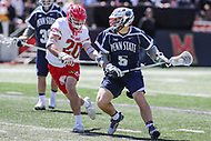 College Park, MD - April 8, 2017: Penn State Nittany Lions Kevin Hill (5) attempts a shot during game between Penn State and Maryland at  Capital One Field at Maryland Stadium in College Park, MD.  (Photo by Elliott Brown/Media Images International)