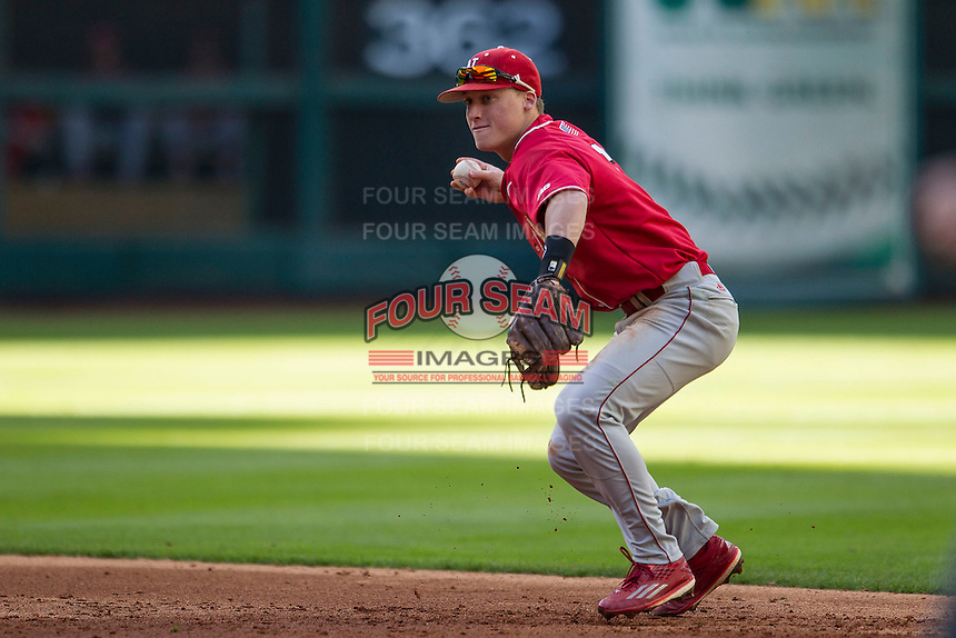 Nebraska Cornhuskers second baseman Jake Schleppenbach (6) makes a throw to first base during Houston College Classic against the Texas A&M Aggies on March 6, 2015 at Minute Maid Park in Houston, Texas. Texas A&M defeated Nebraska 2-1. (Andrew Woolley/Four Seam Images)