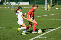 Kansas City, MO - Sunday September 11, 2016: Alyssa Naeher, Shea Groom during a regular season National Women's Soccer League (NWSL) match between FC Kansas City and the Chicago Red Stars at Swope Soccer Village.