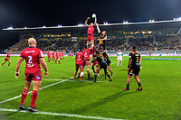 Lineout action during the Super Rugby match between the Chiefs and Reds at Yarrow Stadium in New Plymouth, New Zealand on Saturday, 6 May 2017. Photo: Dave Lintott / lintottphoto.co.nz