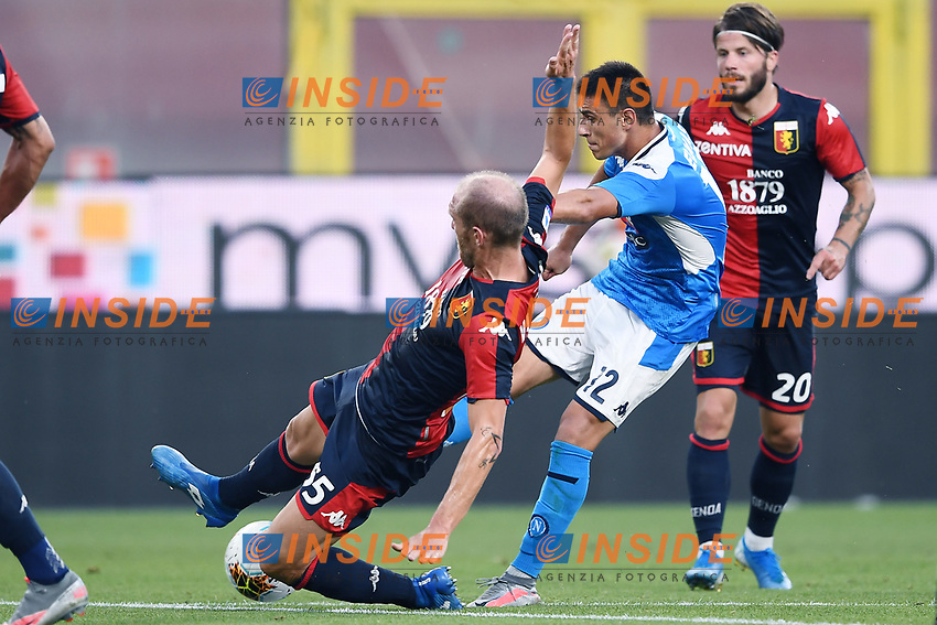Andrea Masiello of Genoa CFC and Eljif Elmas of SSC Napoli  compete for the ball during the Serie A football match between Genoa CFC and SSC Napoli stadio Marassi in Genova ( Italy ), July 08th, 2020. Play resumes behind closed doors following the outbreak of the coronavirus disease. <br /> Photo Matteo Gribaudi / Image / Insidefoto