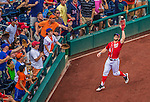 28 July 2013: Washington Nationals outfielder Bryce Harper pulls in a foul ball for an out during a game against the New York Mets at Nationals Park in Washington, DC. The Nationals defeated the Mets 14-1. Mandatory Credit: Ed Wolfstein Photo *** RAW (NEF) Image File Available ***