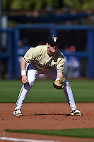 Vanderbilt Commodores infielder Will Toffey (10) during a game against the Indiana State Sycamores on February 21, 2015 at Charlotte Sports Park in Port Charlotte, Florida.  Indiana State defeated Vanderbilt 8-1.  (Mike Janes/Four Seam Images)