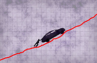 Man struggling to push car up line graph