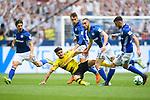 15.04.2018, VELTINS Arena, Gelsenkirchen, Deutschland, GER, 1. FBL, FC Schalke 04 vs. Borussia Dortmund, im Bild Zweikampf zwischen Mahmoud Dahoud (#19 Dortmund) und Benjamin Stambouli (#17 Schalke), Leon Goretzka (#8 Schalke), Nabil Bentaleb (#10 Schalke), Daniel Caligiuri (#18 Schalke)<br /> <br /> Foto &copy; nordphoto / Kurth