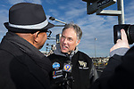 Wake Forest Demon Deacons head coach Dave Clawson is interviewed after having taken a ride in a NASCAR race car as part of the festivities for the 2017 Belk Bowl at the Charlotte Motor Speedway on December 26, 2017 in Concord, North Carolina.  (Brian Westerholt/Sports On Film)
