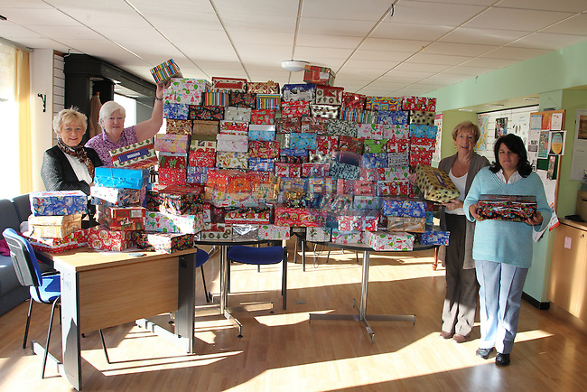 Isobel Sanroma, Bridie McIvor, Joan McEvoy and Natisha with all the boxes All boxed up and ready to go, from the Drogheda Support centre..Picture: Fran Caffrey/www.newsfile.ie.