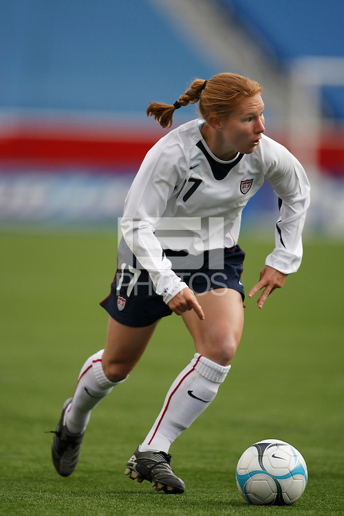 USA midfielder (17) Lori Chalupny. The USA Women's National Team defeated Mexico 5-0 in an international friendly at Gillette Stadium, Foxbourgh, MA, on April 14, 2007.