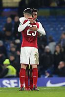 Granit Xhaka of Arsenal hugs Alex Iwobi at the final whistle during Chelsea vs Arsenal, Caraboa Cup Football at Stamford Bridge on 10th January 2018