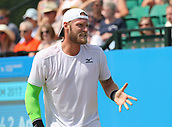 June 17th 2017, Nottingham, England; ATP Aegon Nottingham Open Tennis Tournament day 6;  Sam Groth of Australia expressing frustration to his coach