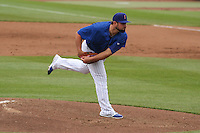 Iowa Cubs pitcher Hunter Cervenka (40) delivers a pitch during a Pacific Coast League game against the Colorado Springs Sky Sox on May 11th, 2015 at Principal Park in Des Moines, Iowa.  Colorado Springs defeated Iowa 13-7.  (Brad Krause/Four Seam Images)