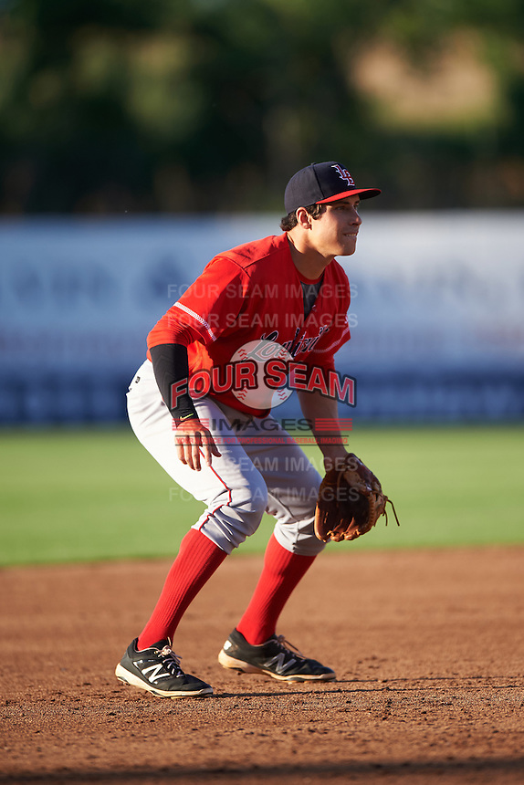 Louisville Bats third baseman Seth Mejias-Brean (5) during a game against the Syracuse Chiefs on June 6, 2016 at NBT Bank Stadium in Syracuse, New York.  Syracuse defeated Louisville 3-1.  (Mike Janes/Four Seam Images)