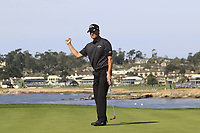 Chris Harrison sinks his putt on the 7th green during Sunday's Final Round of the 2018 AT&amp;T Pebble Beach Pro-Am, held on Pebble Beach Golf Course, Monterey,  California, USA. 11th February 2018.<br /> Picture: Eoin Clarke | Golffile<br /> <br /> <br /> All photos usage must carry mandatory copyright credit (&copy; Golffile | Eoin Clarke)