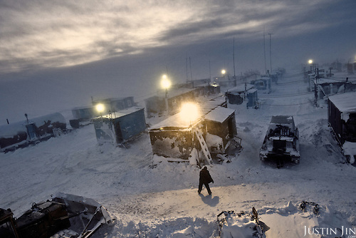 "Geo-physics company ""Siesmorevzedka"" sets up a colony in the middle of the tundra in the Nenets Autonomous region, hundreds of kilometres from civilization, to prospect for oil and gas."