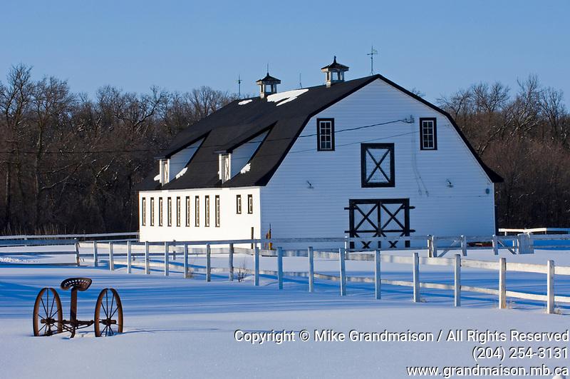 barn in winter<br />Lorette<br />Manitoba<br />Canada