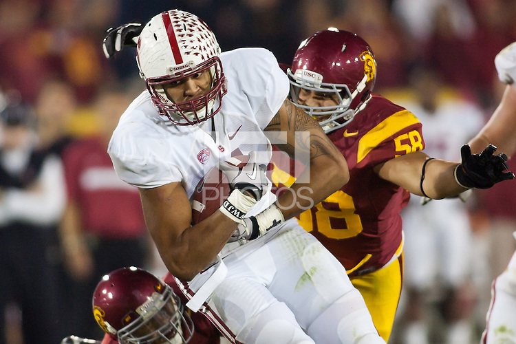 LOS ANGELES, CA-OCTOBER 29,2011- The Stanford Cardinals defeated the USC Trojans 56-48. Levine Toilolo (11) during play against USC at the L.A. Coliseum in Los Angeles, CA.