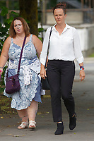 Pictured: Rebecca Rogers (R) outside Cardiff Crown Court, Wales, UK. Friday 15 June 2018<br /> Re: A prison officer who sent romantic messages to an inmate has is due to be sentenced at Cardiff Crown Court in Wales, UK.<br /> Rebecca Rogers, 38, was working at HMP Parc in Bridgend when she met the man; however he was later moved to another prison.  Rogers kept contact with him sending a total of 26 letters of a personal nature.<br /> During that time, Rogers became aware that the prisoner was in possession of a mobile phone; an item which is prohibited.  She did not report the fact until six weeks later.