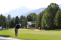 Jorge Campillo (ESP) plays his 2nd shot on the 1st hole during Thursday's Round 1 of the 2017 Omega European Masters held at Golf Club Crans-Sur-Sierre, Crans Montana, Switzerland. 7th September 2017.<br /> Picture: Eoin Clarke | Golffile<br /> <br /> <br /> All photos usage must carry mandatory copyright credit (&copy; Golffile | Eoin Clarke)