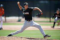 GCL Marlins relief pitcher Tyler Jones (37) delivers a pitch during a game against the GCL Astros on August 5, 2018 at FITTEAM Ballpark of the Palm Beaches in West Palm Beach, Florida.  GCL Astros defeated GCL Marlins 2-1.  (Mike Janes/Four Seam Images)