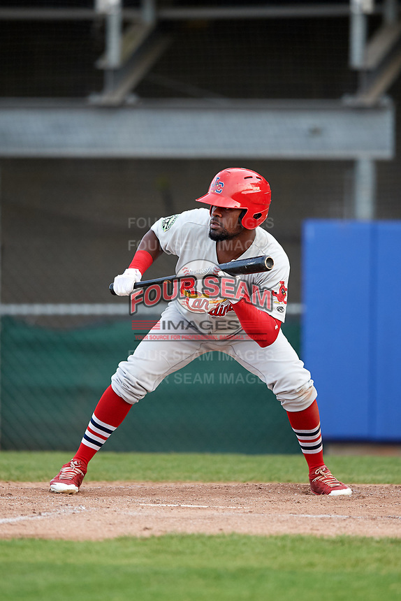 Johnson City Cardinals third baseman Luis Flores (16) squares around to bunt during the first game of a doubleheader against the Princeton Rays on August 17, 2018 at Hunnicutt Field in Princeton, Virginia.  Johnson City defeated Princeton 6-4.  (Mike Janes/Four Seam Images)