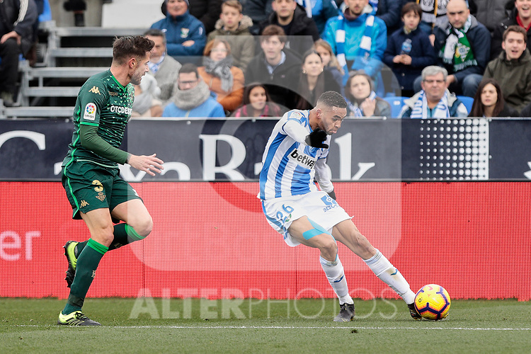 CD Leganes's Youssef En-Nesyri and Real Betis Balompie's Javi Garcia during La Liga match between CD Leganes and Real Betis Balompie at Butarque Stadium in Madrid, Spain. February 10, 2019. (ALTERPHOTOS/A. Perez Meca)