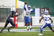 Washington, DC - September 16, 2016: Hampton Pirates quarterback Jaylian Williamson (12) throws the ball during game between Hampton and Howard at  RFK Stadium in Washington, DC. September 16, 2016.  (Photo by Elliott Brown/Media Images International)