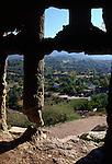 View from inside rock tomb at the Lycian city of Tlos, Turkey