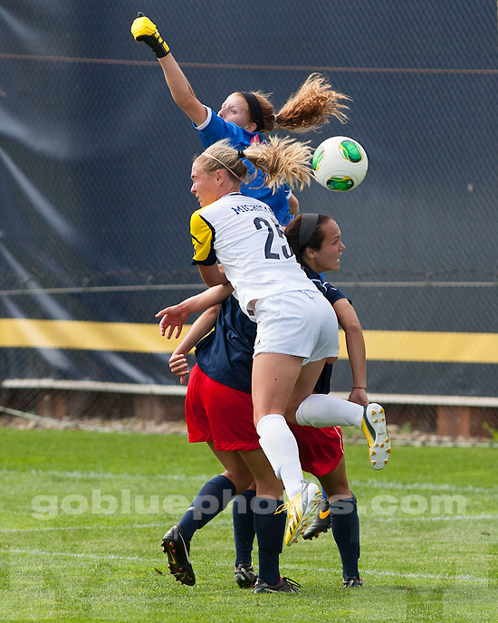 The University of Michigan women's soccer team beat Dayton, 4-1, in exhibition at the UM Soccer Stadium in Ann Arbor Mich., on August 16, 2013.