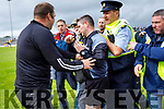 Kilmoyley mentorsand players approach the Referee Fergal Horgan after the Kerry County Senior Hurling championship Final at Austin Stack Park on Sunday.