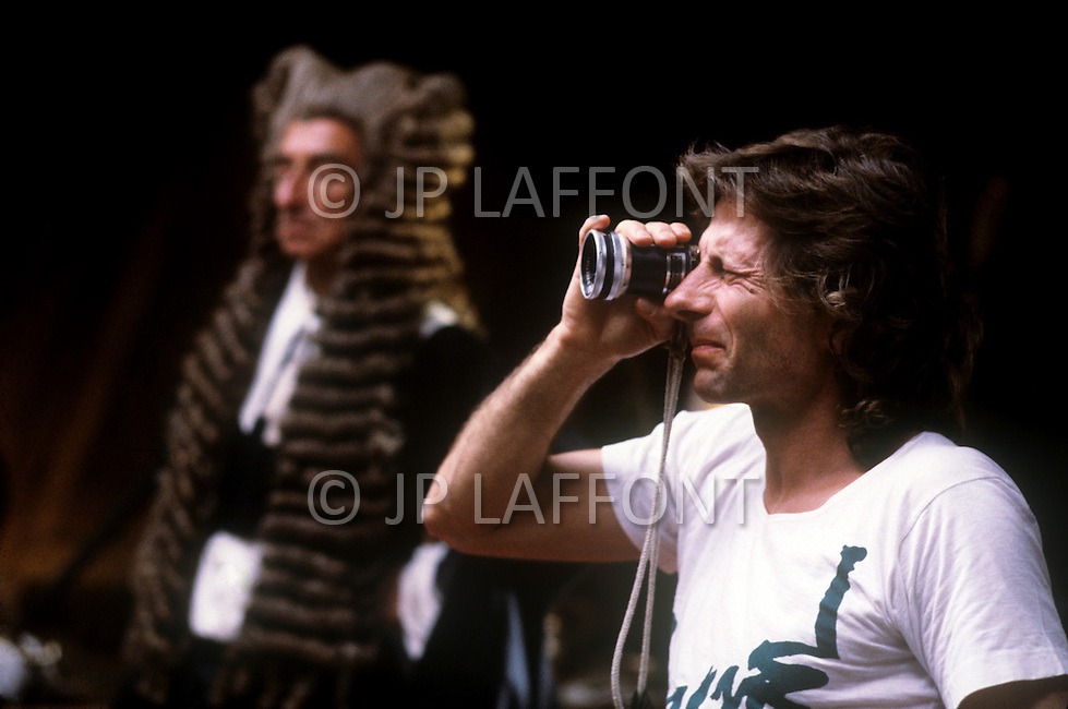 April, 1985. El Kantaoui, Tunisia. Roman Polanski, director of the film The Pirates, photographed on the set and at the beach.