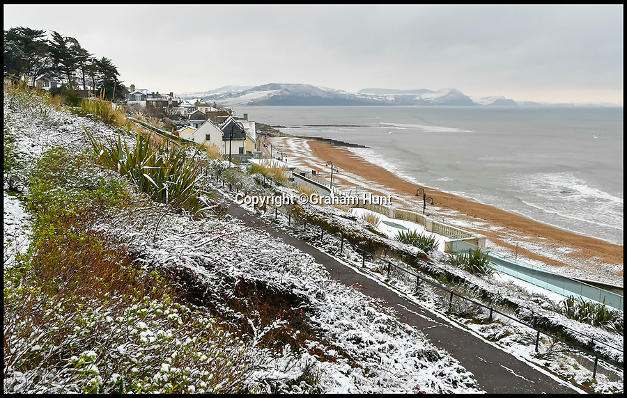 BNPS.co.uk (01202 558833)<br /> Pic: Graham Hunt/BNPS<br /> <br /> The seaside resort of Lyme Regis in Dorset looking wintery after heavy overnight snow covered southern Britain.<br /> <br /> View East from Langmoor Gardens.