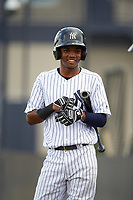 New York Yankees shortstop Jose Devers (4) during an Instructional League game against the Pittsburgh Pirates on September 29, 2017 at the Yankees Minor League Complex in Tampa, Florida.  (Mike Janes/Four Seam Images)