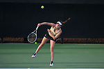 Emma Davis of the Wake Forest Demon Deacons serves the ball during her match at #1 singles against the North Carolina Tar Heels at the Wake Forest Tennis Center on March 29, 2017 in Winston-Salem, North Carolina. The Tar Heels defeated the Demon Deacons 6-1.  (Brian Westerholt/Sports On Film)