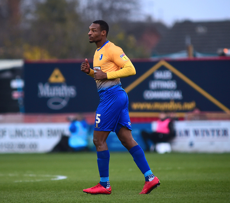 Mansfield Town's Krystian Pearce<br /> <br /> Photographer Andrew Vaughan/CameraSport<br /> <br /> The EFL Sky Bet League Two - Lincoln City v Mansfield Town - Saturday 24th November 2018 - Sincil Bank - Lincoln<br /> <br /> World Copyright © 2018 CameraSport. All rights reserved. 43 Linden Ave. Countesthorpe. Leicester. England. LE8 5PG - Tel: +44 (0) 116 277 4147 - admin@camerasport.com - www.camerasport.com