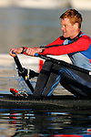 Rowing, single sculler Conal Groom at the finish, full pressure, Lake Union, Seattle, Washington, Pacific Northwest, National team rower, .