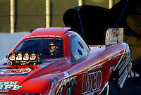 Nov. 9, 2012; Pomona, CA, USA: NHRA top alcohol funny car driver Mickey Ferro during qualifying for the Auto Club Finals at at Auto Club Raceway at Pomona. Mandatory Credit: Mark J. Rebilas-