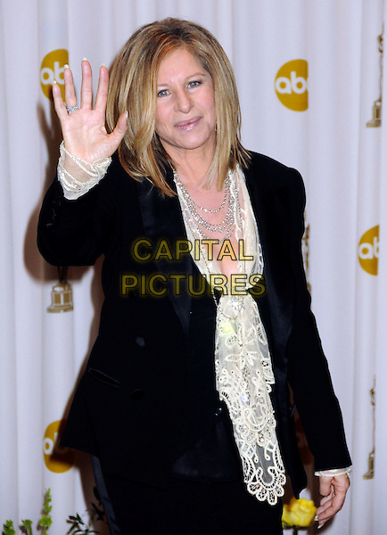 BARBRA STREISAND.82nd Annual Academy Awards held at the Kodak Theatre, Hollywood, California, USA..March 7th, 2010.oscars half length black suit jacket white lace blouse top silver necklaces hand palm waving .CAP/ADM/BP.©Byron Purvis/AdMedia/Capital Pictures.