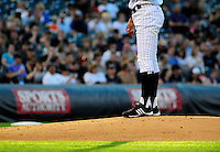 May 6, 2009: The stirrups of Rockies pitcher Ubaldo Jimenez seen in the late afternoon light during a game between the San Francisco Giants and the Colorado Rockies at Coors Field in Denver, Colorado. The Rockies beat the Giants 11-1.