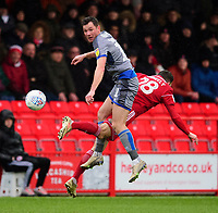 Lincoln City's Tom Hopper vies for possession with Accrington Stanley's Seamus Conneely<br /> <br /> Photographer Andrew Vaughan/CameraSport<br /> <br /> The EFL Sky Bet League One - Accrington Stanley v Lincoln City - Saturday 15th February 2020 - Crown Ground - Accrington<br /> <br /> World Copyright © 2020 CameraSport. All rights reserved. 43 Linden Ave. Countesthorpe. Leicester. England. LE8 5PG - Tel: +44 (0) 116 277 4147 - admin@camerasport.com - www.camerasport.com