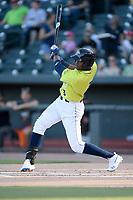 Third baseman Shervyen Newton (3) of the Columbia Fireflies bats in a game against the Delmarva Shorebirds on Thursday, May 2, 2019, at Segra Park in Columbia, South Carolina. Delmarva won, 1-0. (Tom Priddy/Four Seam Images)