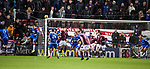 29.02.2020 Hearts v Rangers: Loic Damour (just out of frame) handles ball into net