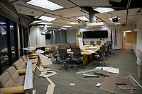 Damage in the UAA Administration and Humanities Building following a 7.0 magnitude earthquake.